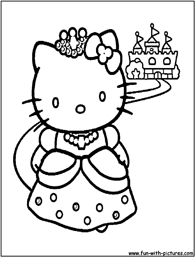 hellokitty princess coloring page