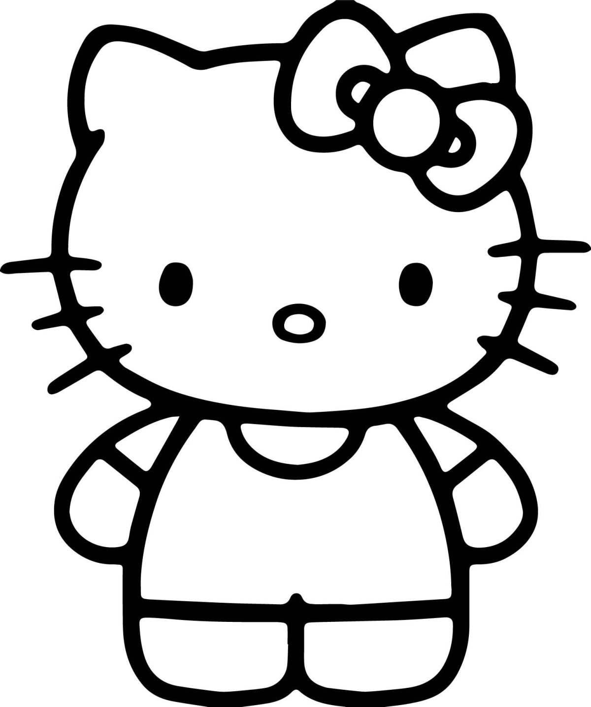 nice simple hello kitty coloring page hello kitty