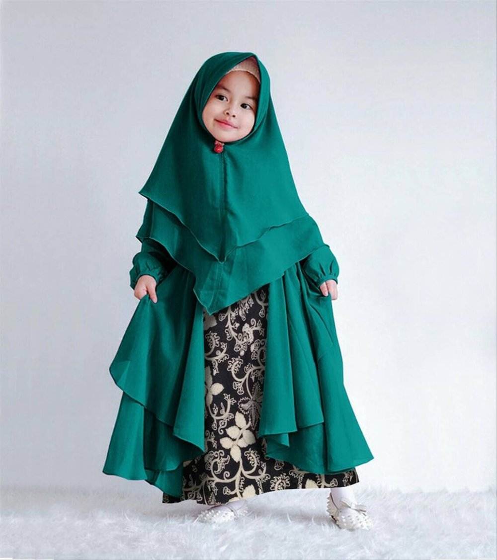 baju gamis batik anak hijab muslimah