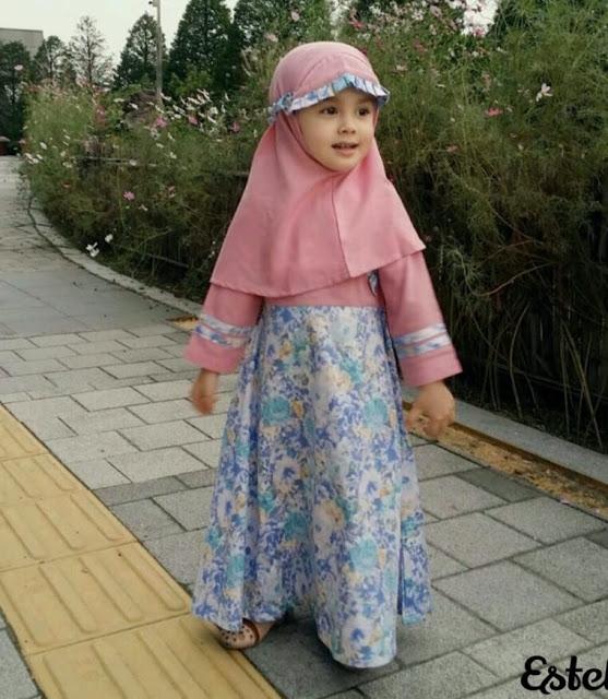 model baju gamis anak katun jepang motif bunga terbaik