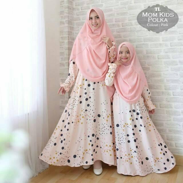 model gamis ibu anak pasangan modern polka mom n kids pink