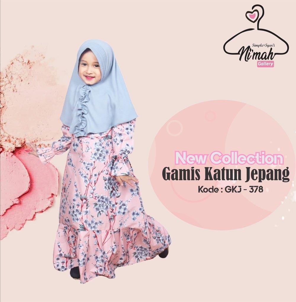 model gamis katun anak hijab salwa
