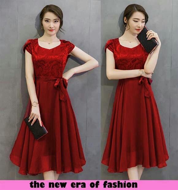 baju dress pendek warna merah sederhana simple model