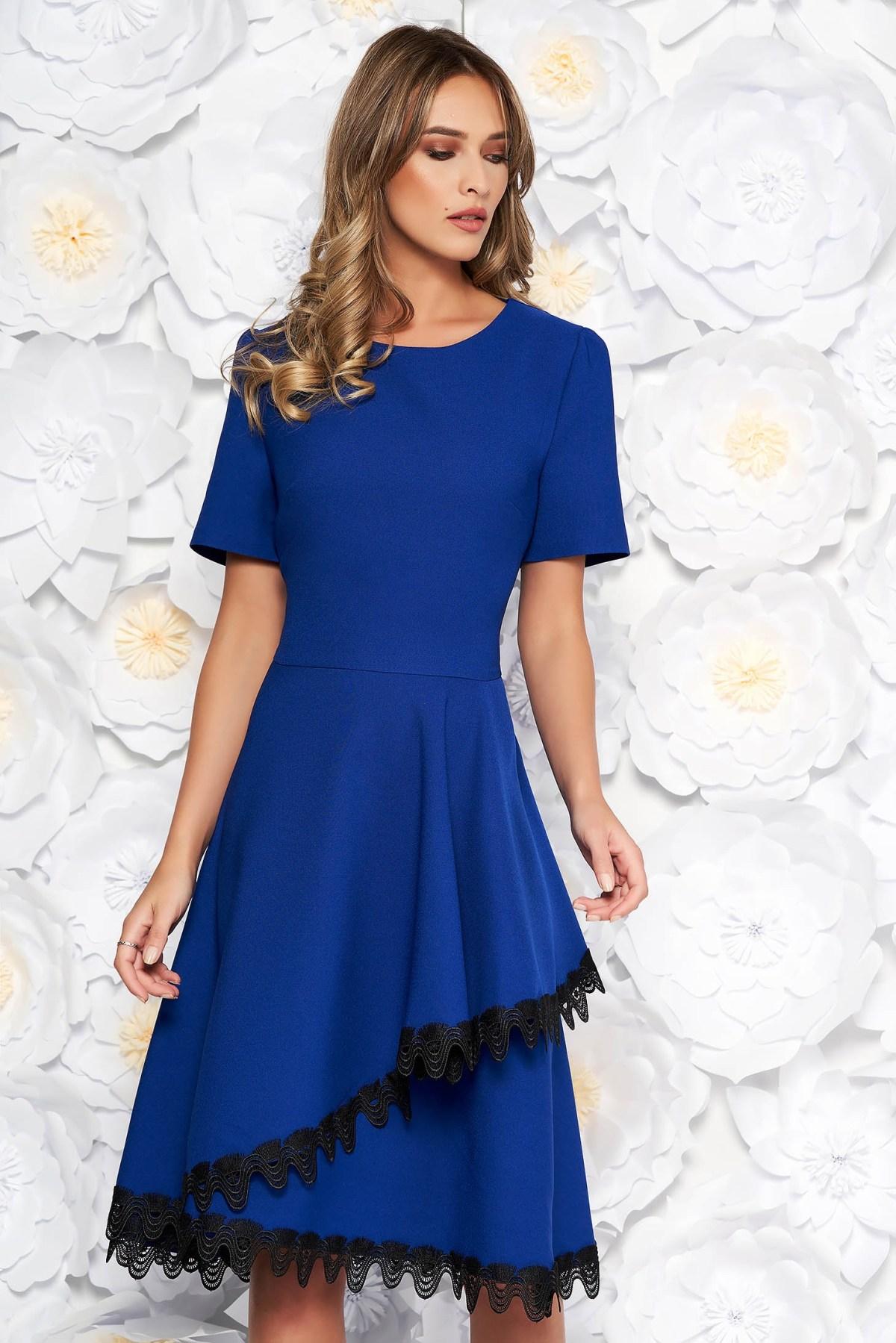 blue elegant midi cloche dress flexible thin fabriccloth