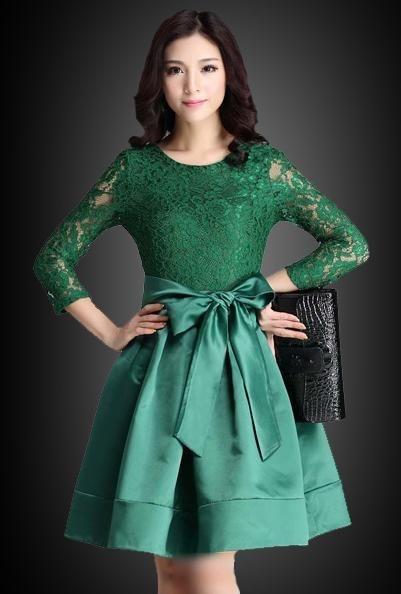 contoh model gaun pesta brokat kombinasi satin wanita