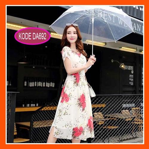 dress panjang cantik model terbaru motif bunga da692