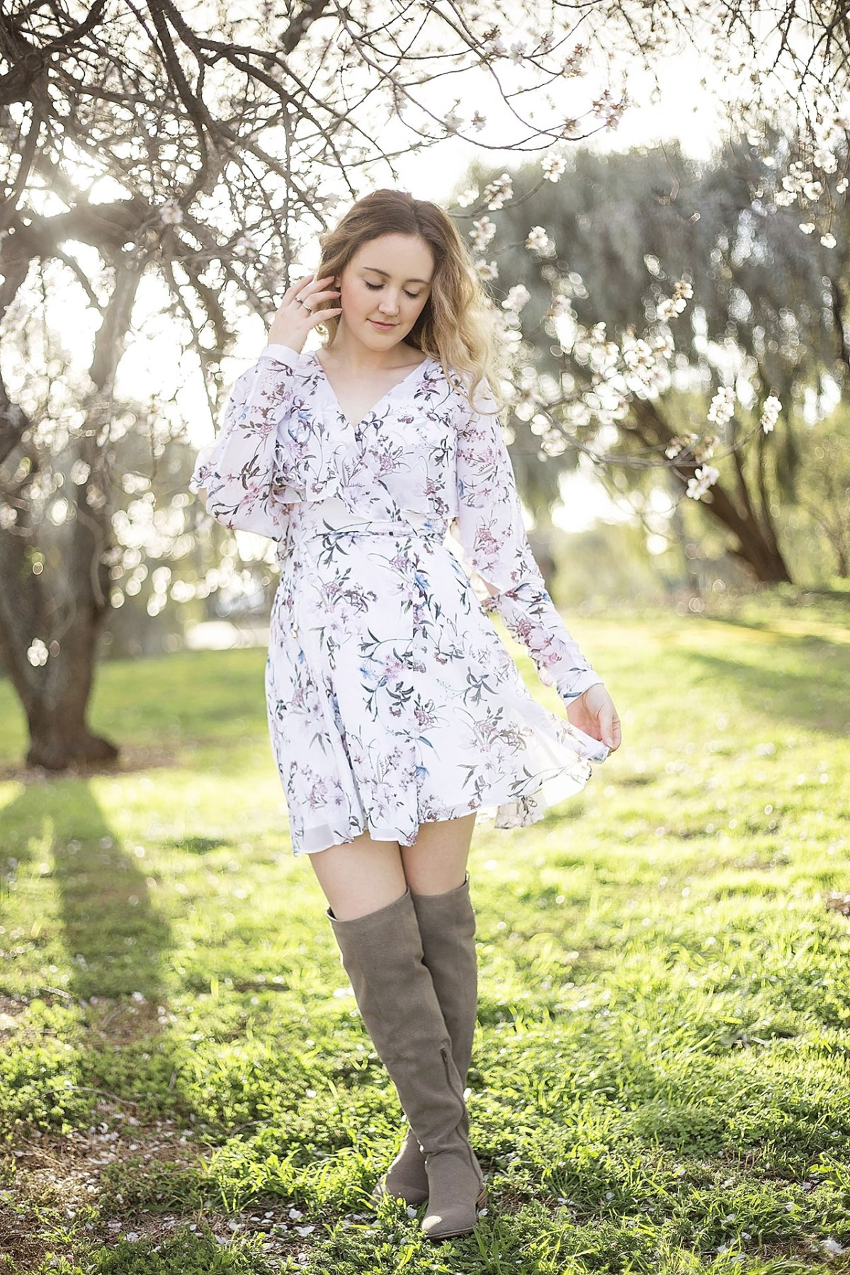 floral chiffon mini dress blossom trees honey and bramble