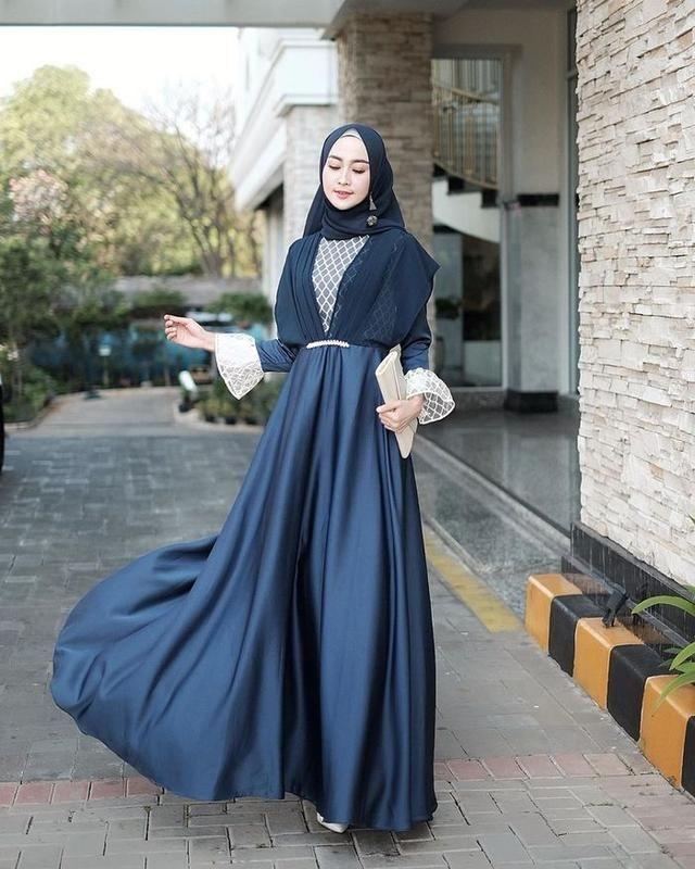 inspirasi 7 dress hijab biru elegan santun untuk