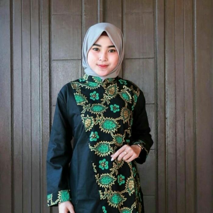 kain batik atasan blus batik kombinasi kain polos model