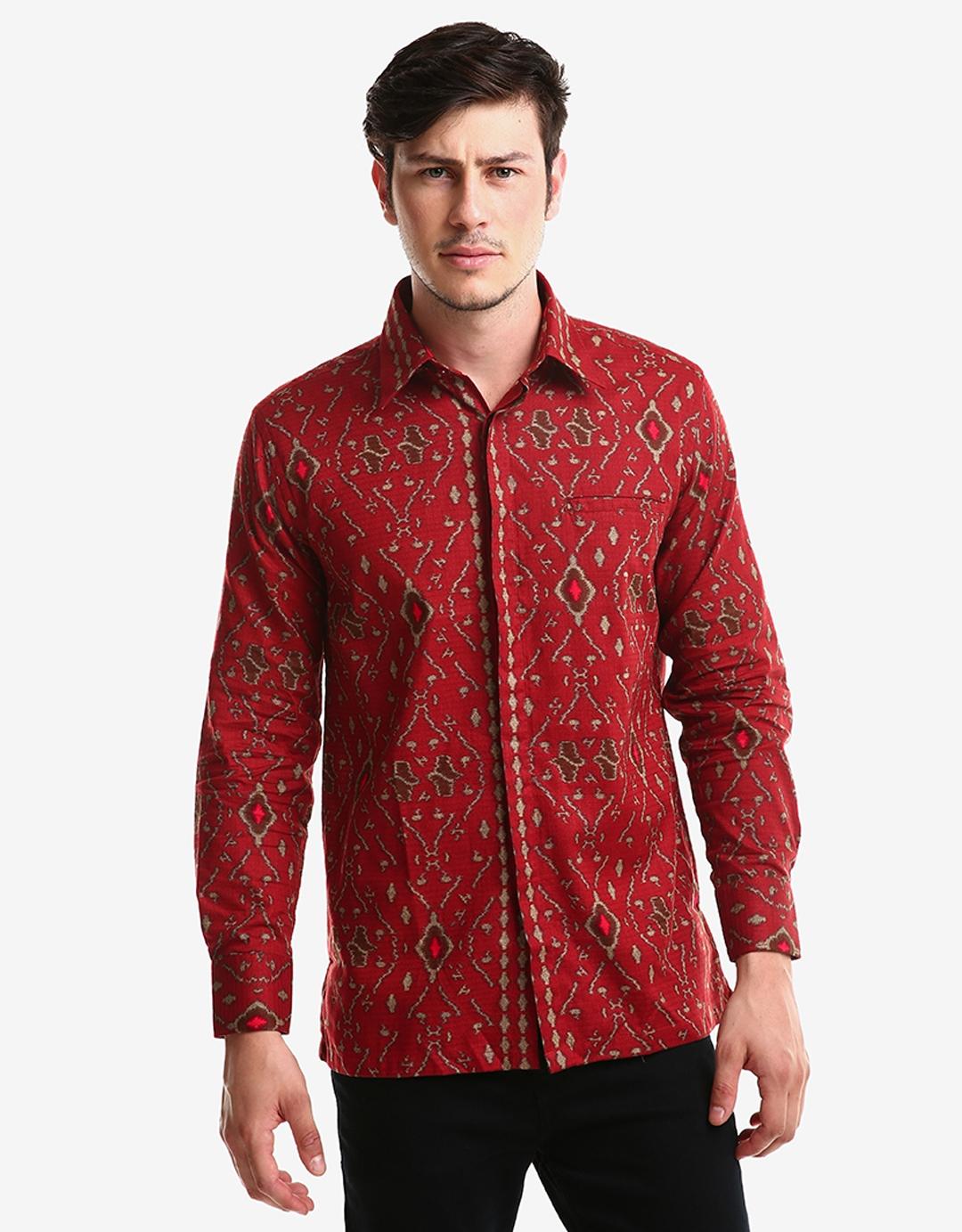 kemeja batik pria model gaul kombinasi polos lengan