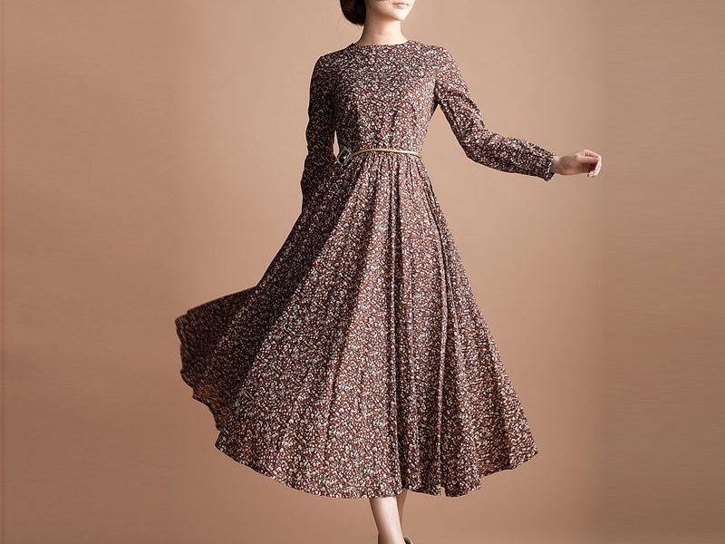 long dress lengan panjang dengan model baru 1