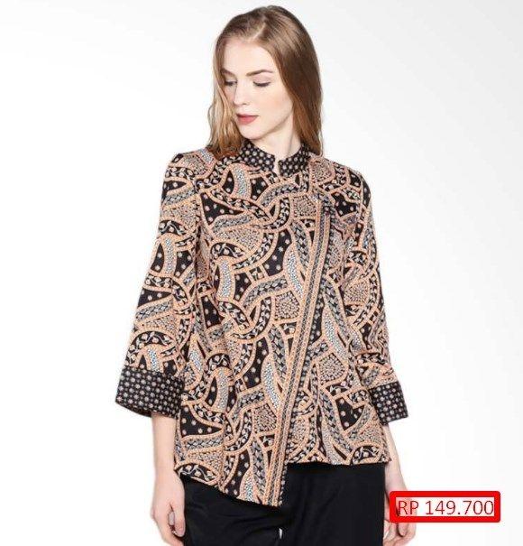 model baju batik kombinasi polos untuk wanita inspirasi