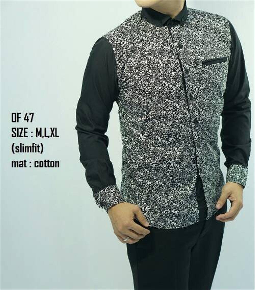 model baju batik pria lengan panjang slim fit model baju