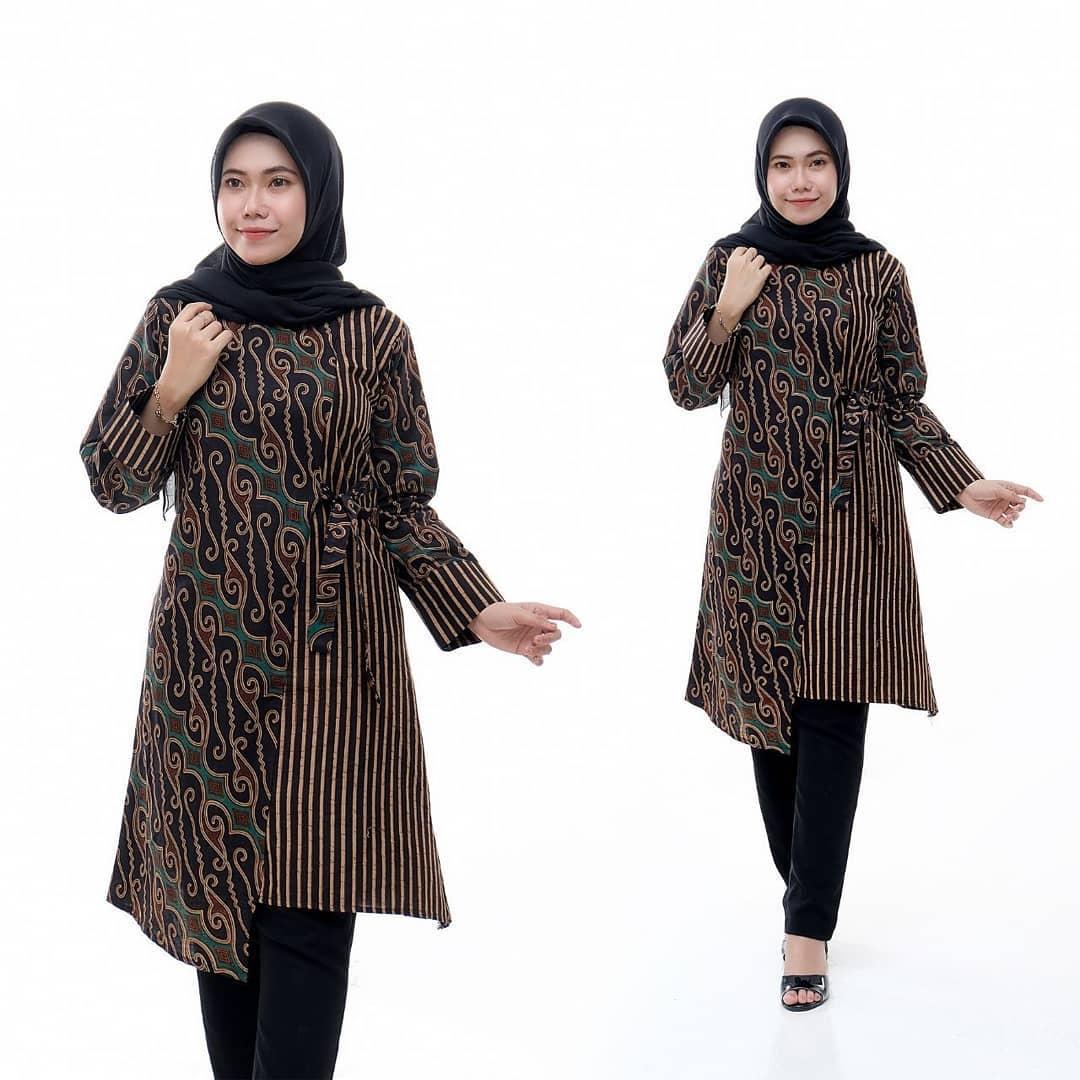 model tunik batik kombinasi polos terbaru 2020 desain