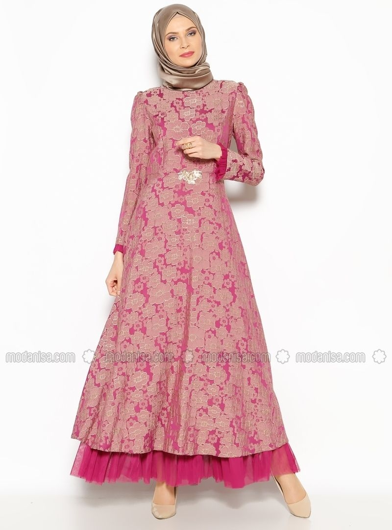 patterned evening dress fuchsia burun pakaian wanita