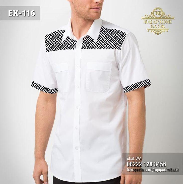 seragam batik kemeja batik pria kombinasi putih polos ex