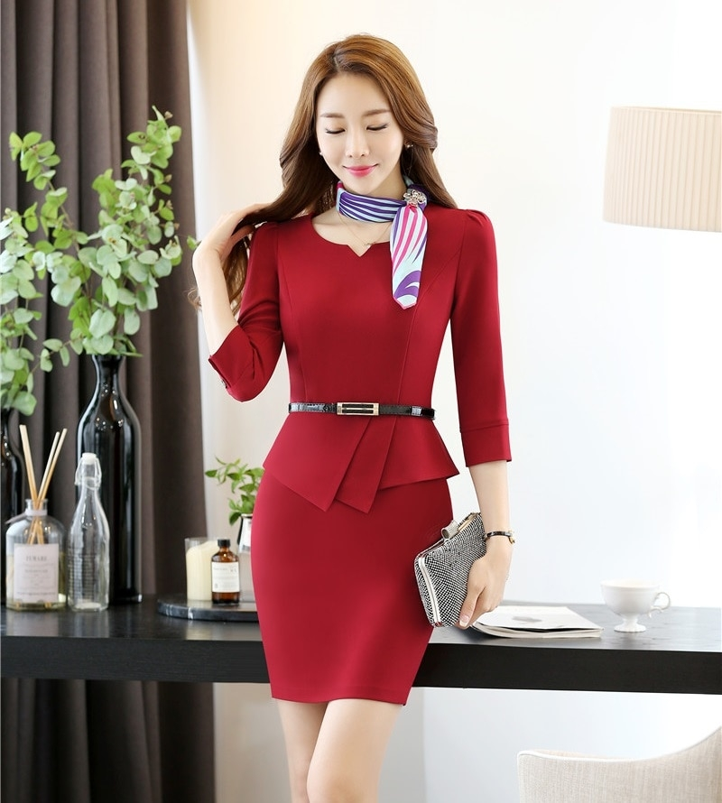 summer fashion women dresses with belt short sleeve red