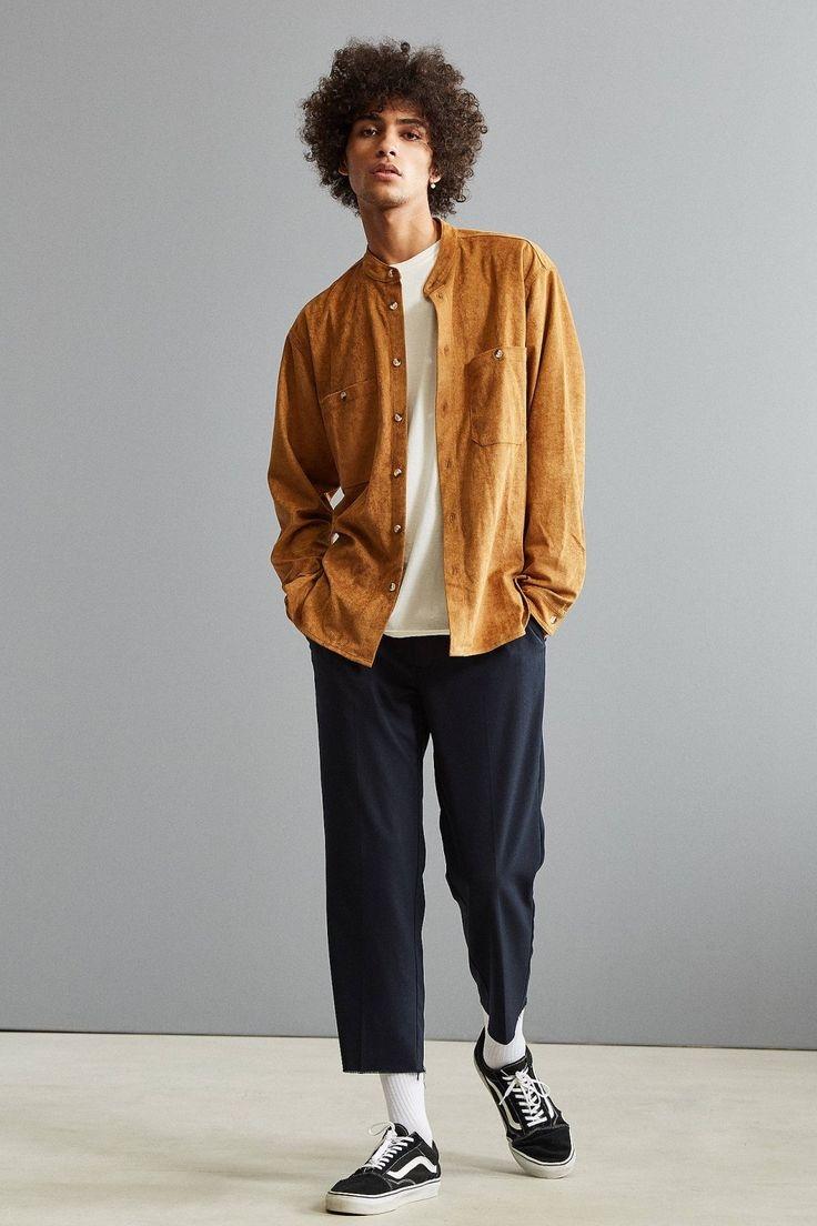 uo faux suede band collar button down shirt pakaian