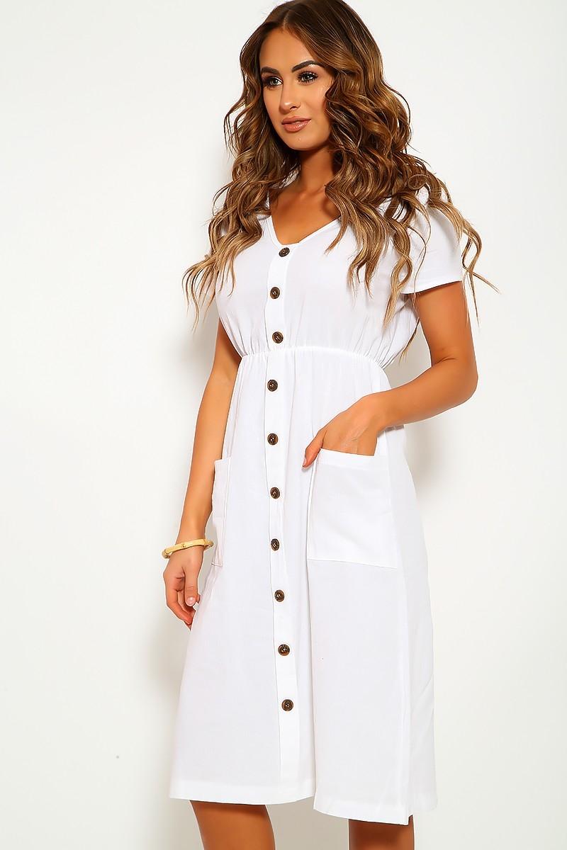 white linen short sleeve casual knee length dress