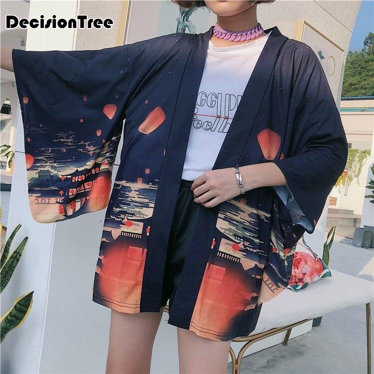 2019 new kimono cardigan casual half sleeve loose black