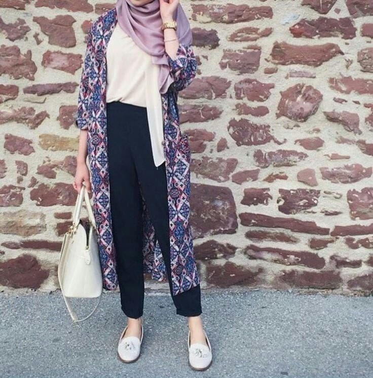 casual hijab outfit with long cardigan love this lavender