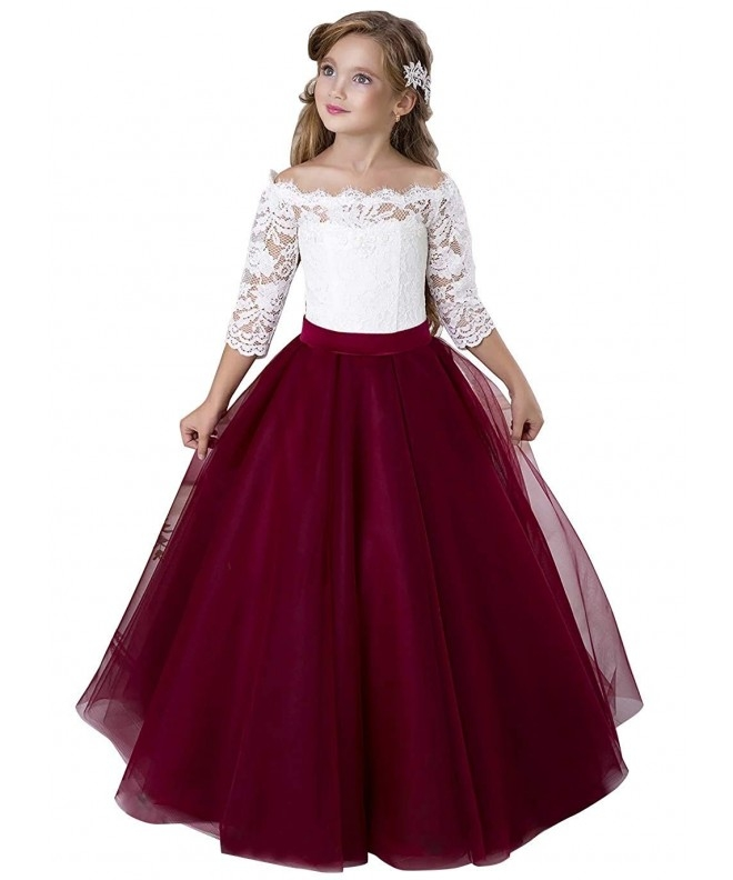 flower girl dress kids lace pageant party christmas ball