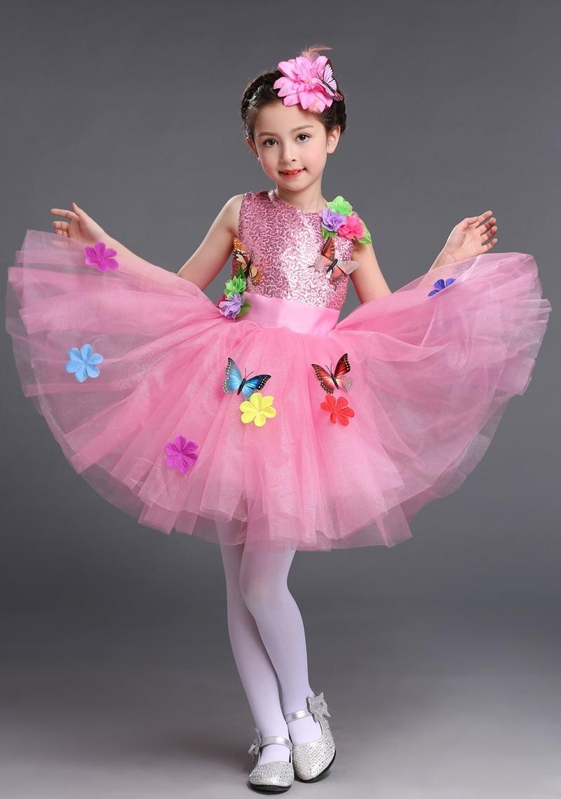 kids dance tutu dresses costume flowers and butterflies