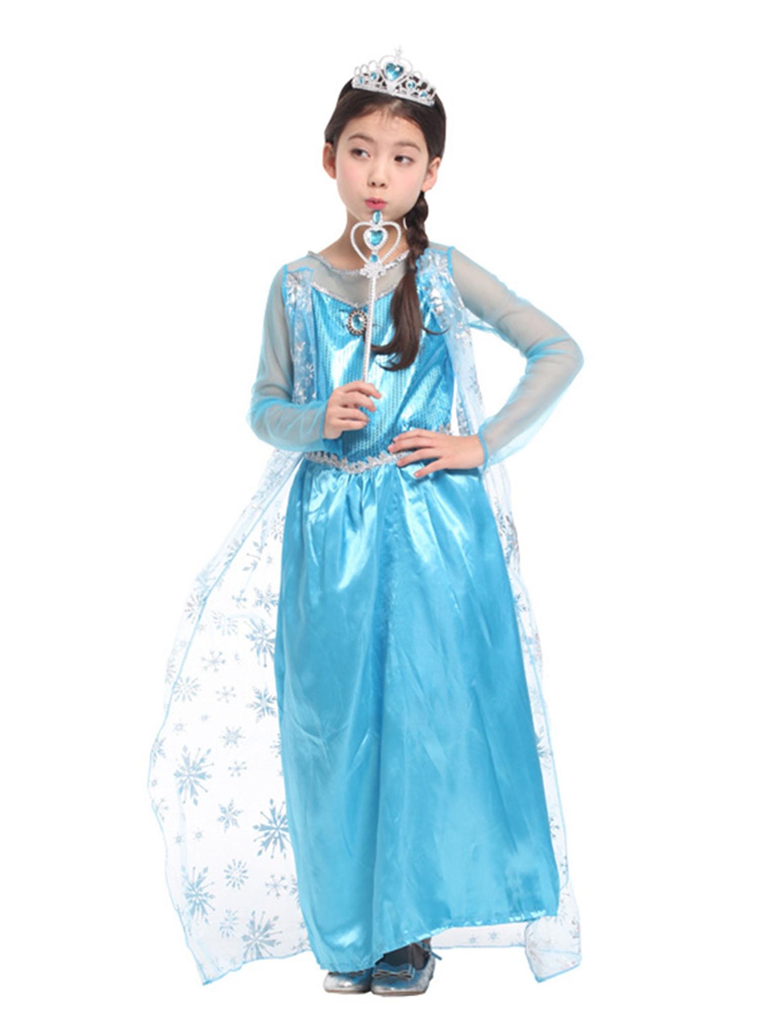 kids girls elsa frozen dress cosplay costume princess anna