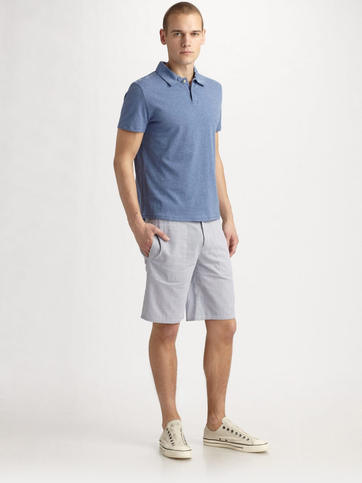 lyst apc seersucker shorts in blue for men