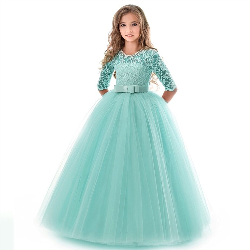 new princess lace dress kids flower embroidery dress for