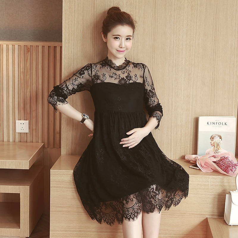 new spring summer expectant mother casual lacedress half