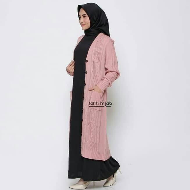ootd hijab cardigan rajut hijab muslimah