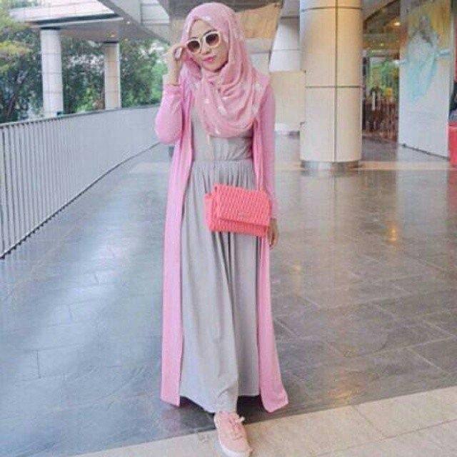 ootd hijab long cardigan
