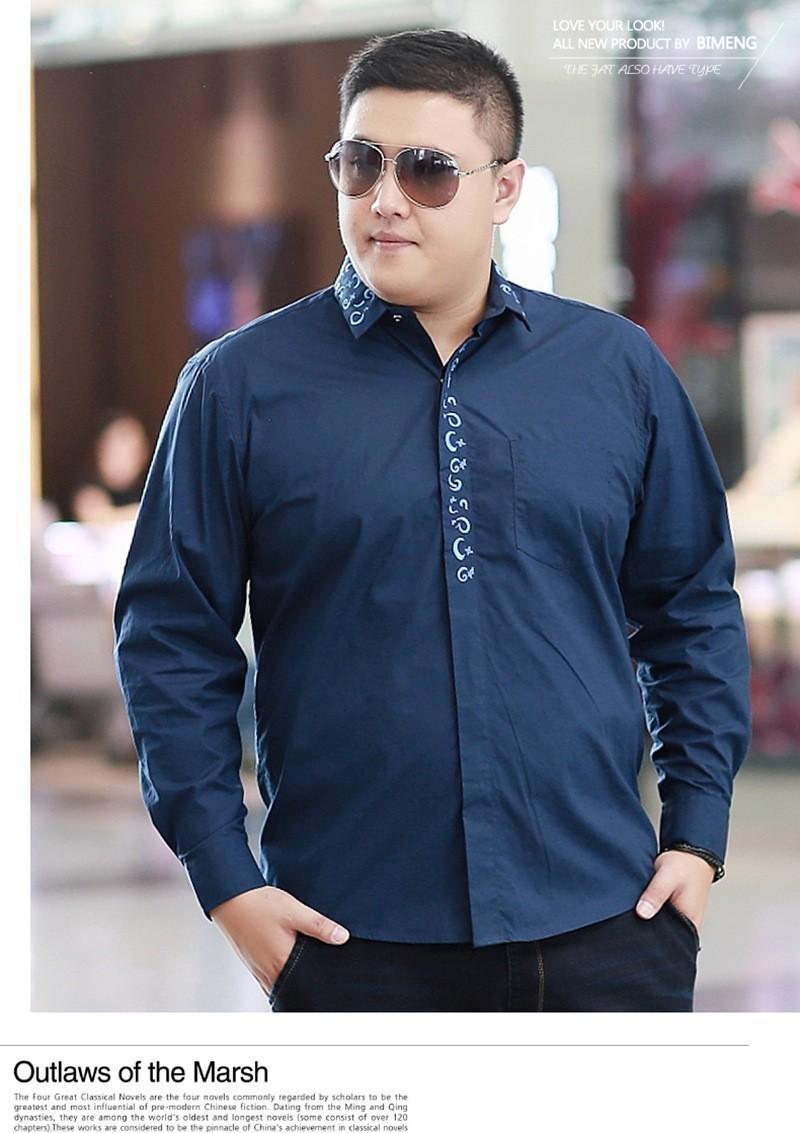 plus size mens clothing long sleeve shirt fat 100 cotton