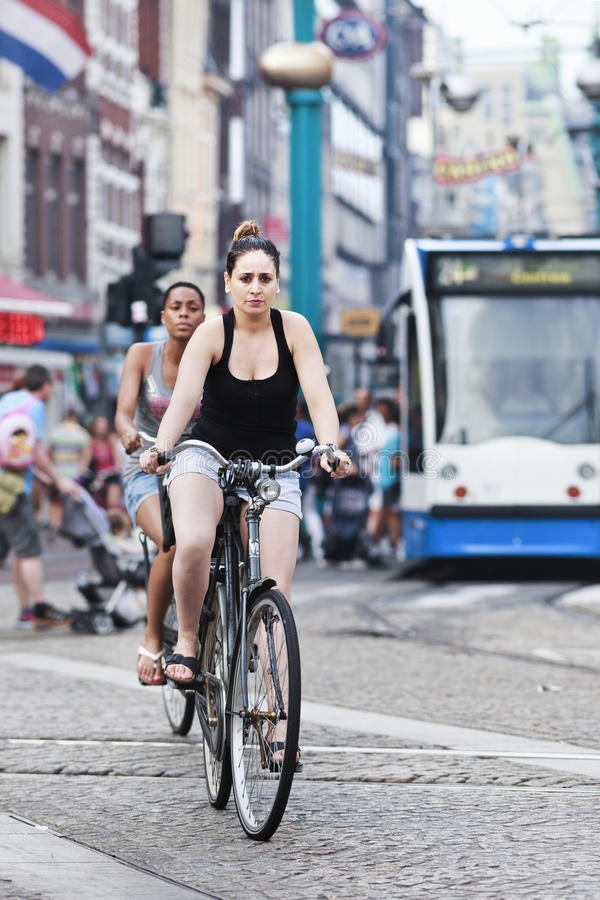 cycling women in amsterdam editorial image image of make