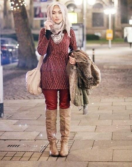 dress hijab dan sepatu boot bikin kamu tambah modis ide 1