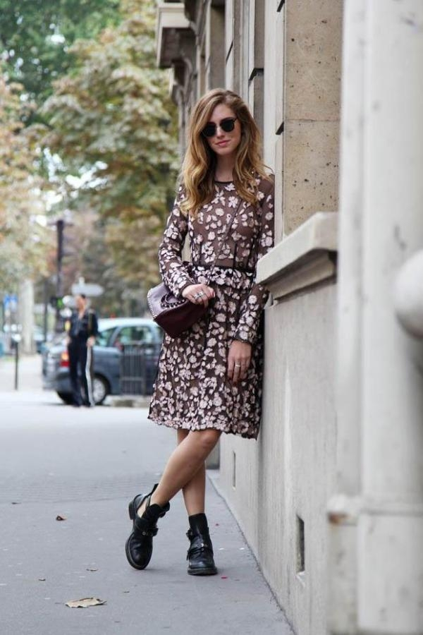how to style a chunky boots with feminine dresses all