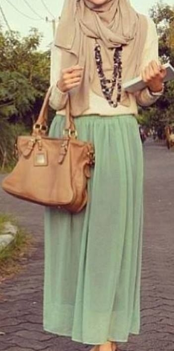 love hijabi fashion pastel colors maxi skirt fashion