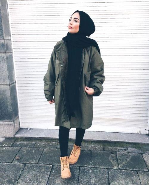 military khaki hijab style just trendy girls