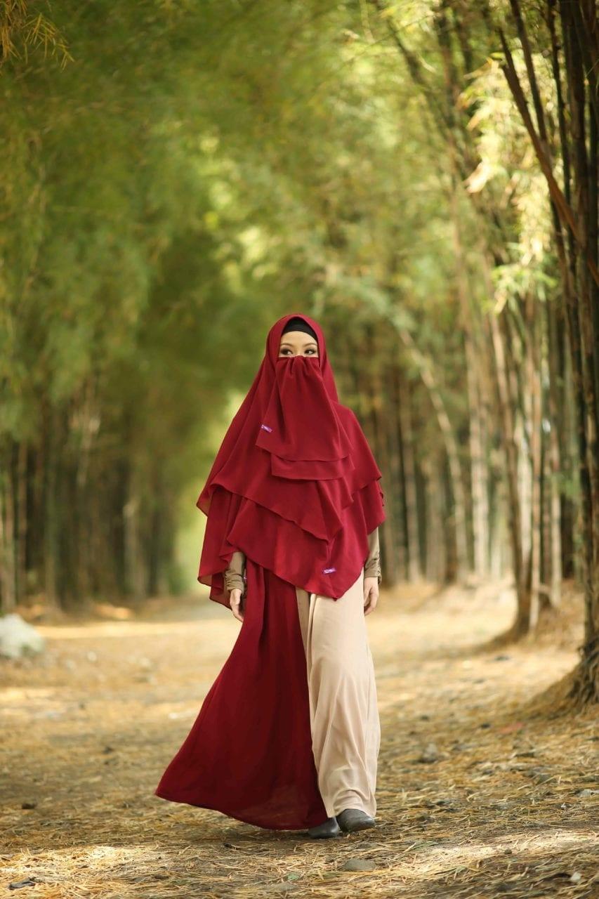 modern dan elegan inilah baju pengantin muslimah bercadar