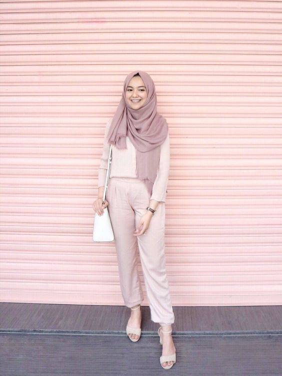 trend color pastel hijab outfit ideas model pakaian