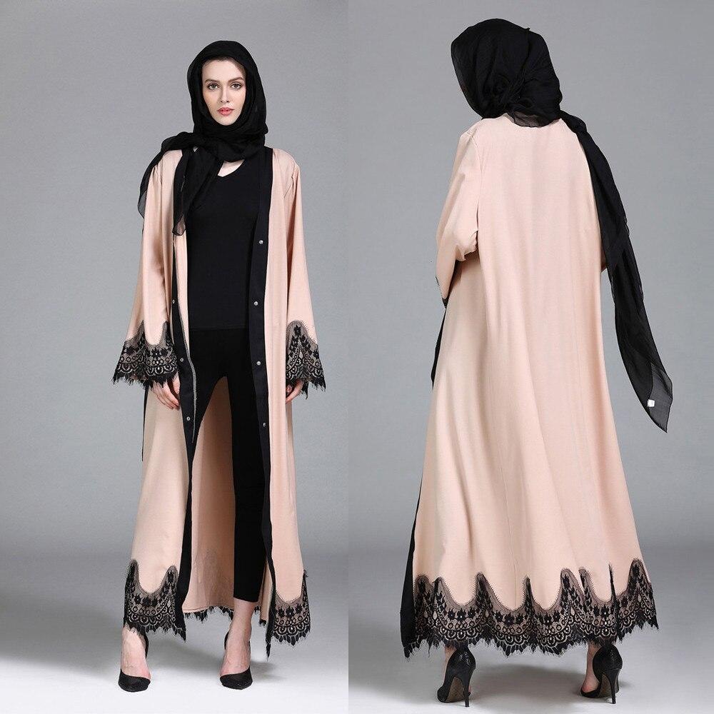 abaya femme lace kimono kaftan robe islam muslim hijab