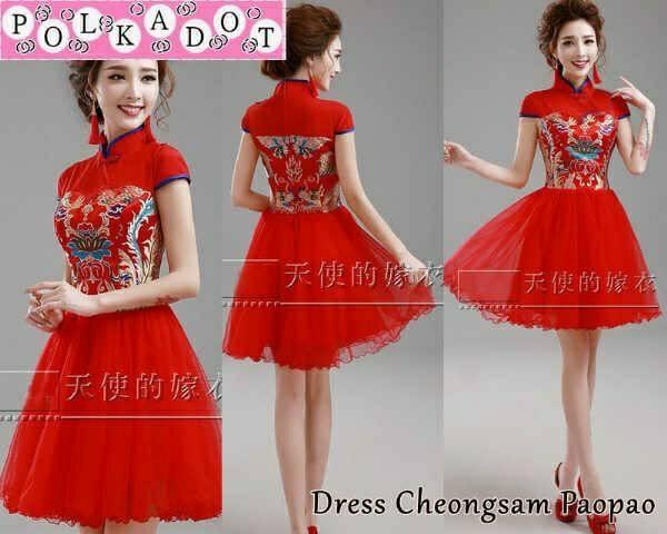 baju dress cheongsam tile merah pendek modis cantik