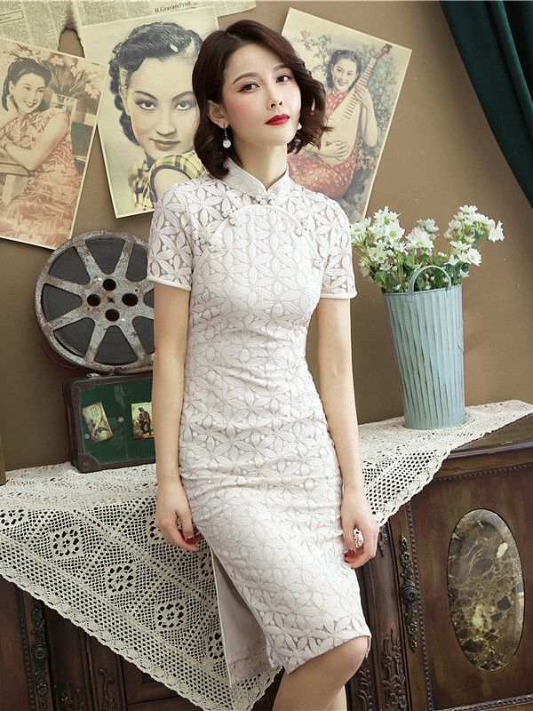 beige floral lace modern cheongsam qipao party dress