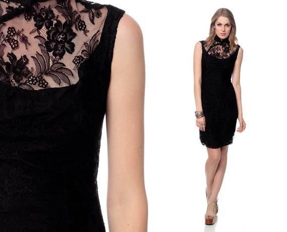 black lace dress 60s mini asian sheer bib chinese cheongsam