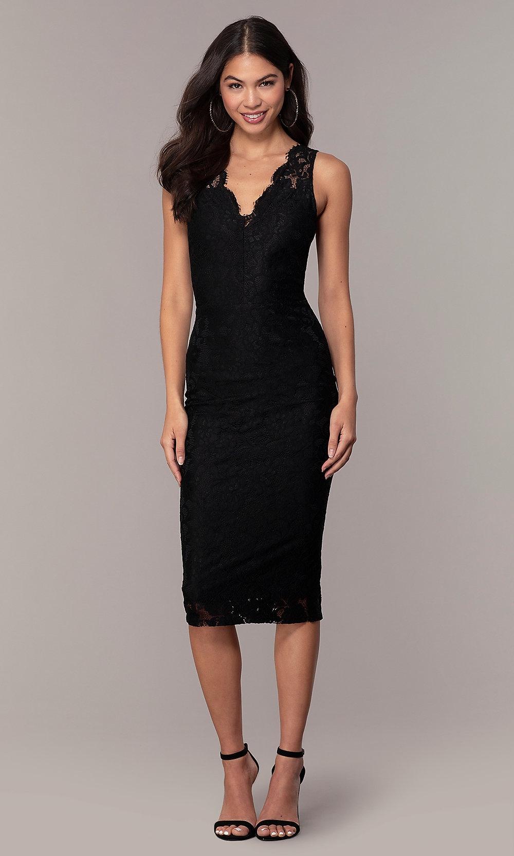 black lace v neck midi party dress simply