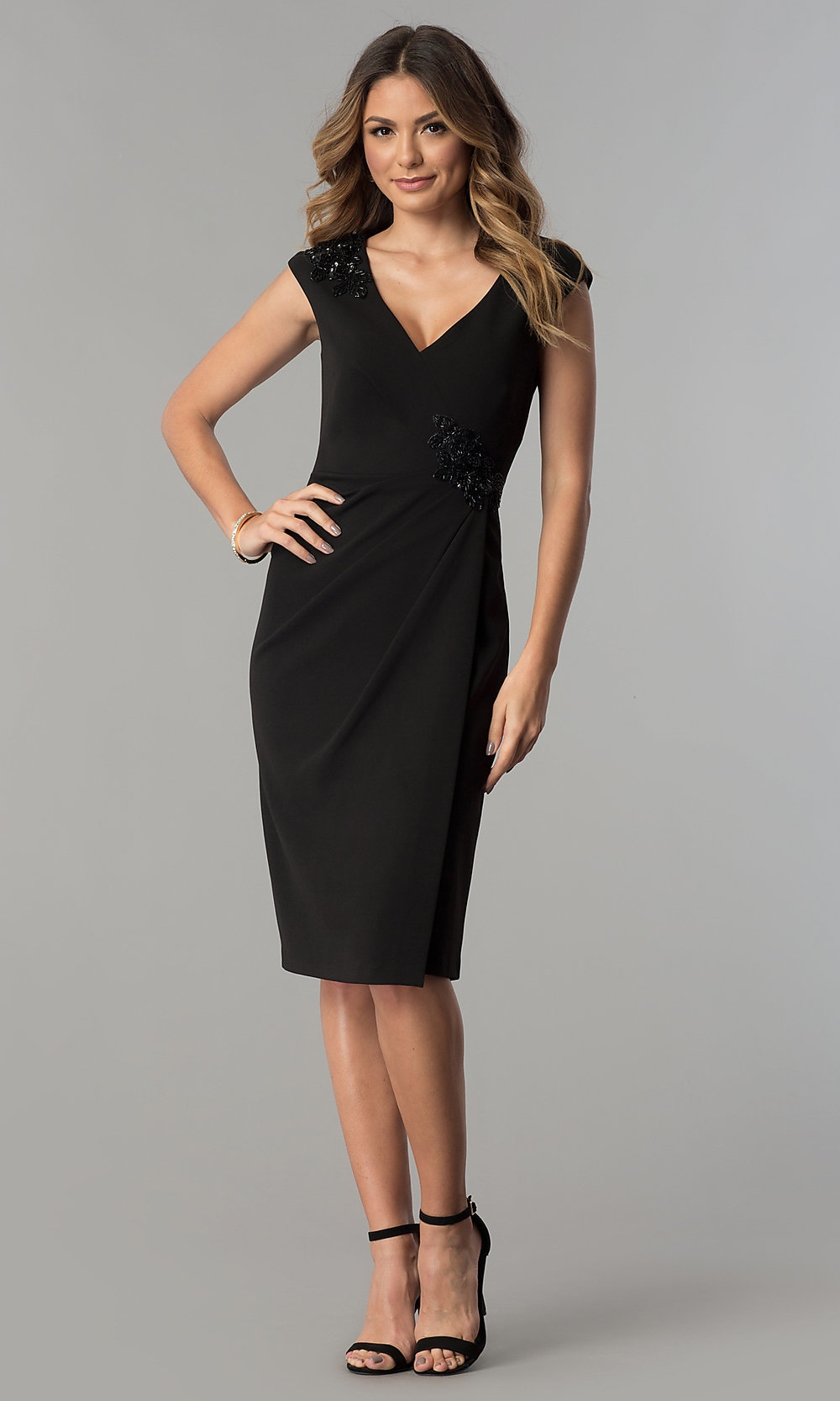 black short cocktail party dress with sequins