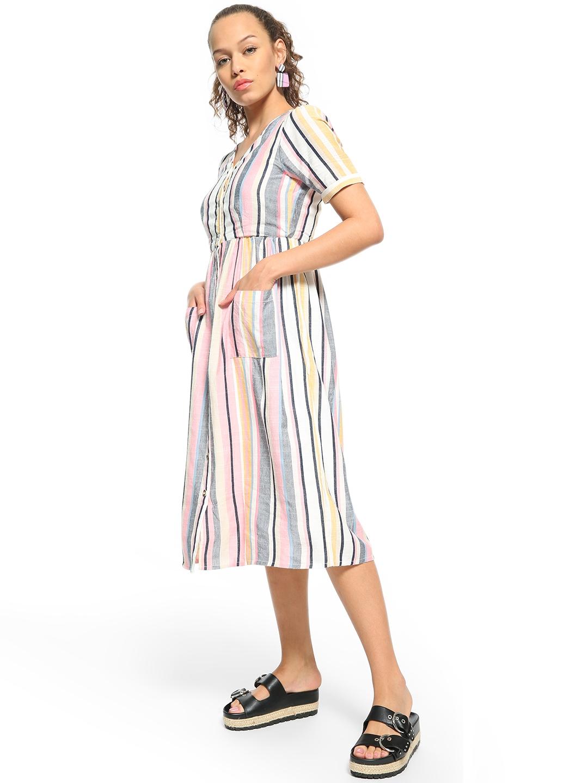 buy people multicolor vertical stripe button down midi