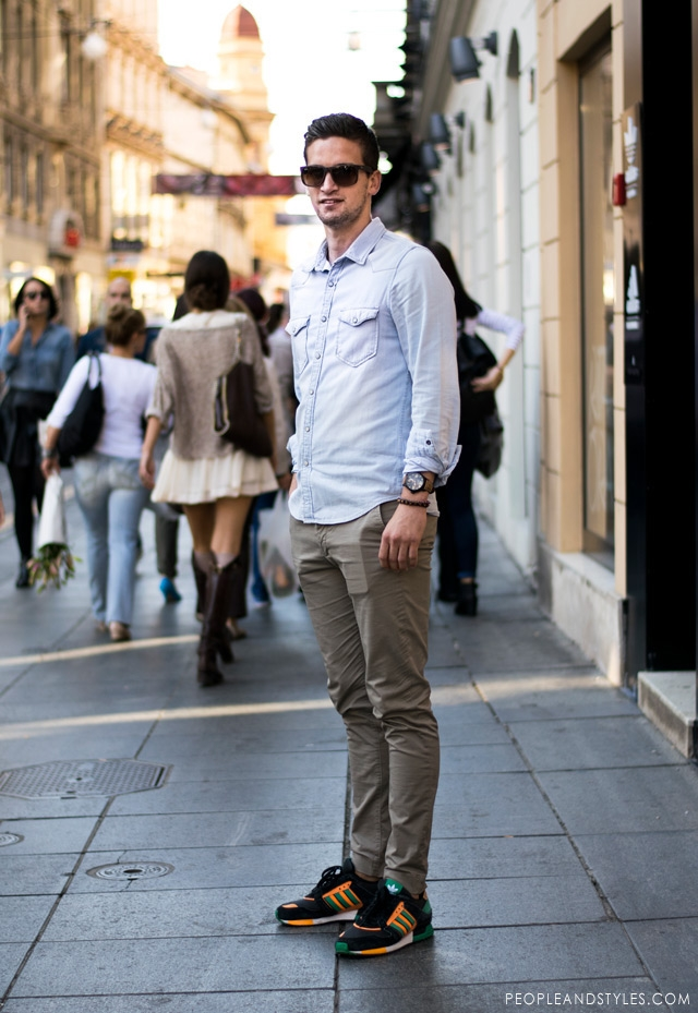 daily style chinos denim shirt and sneakers fashion