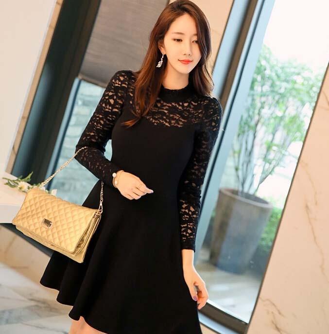 dress pesta korea warna hitam brokat model terbaru